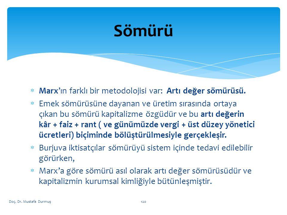 Sömürü Marx'ın farklı bir metodolojisi var: Artı değer sömürüsü.
