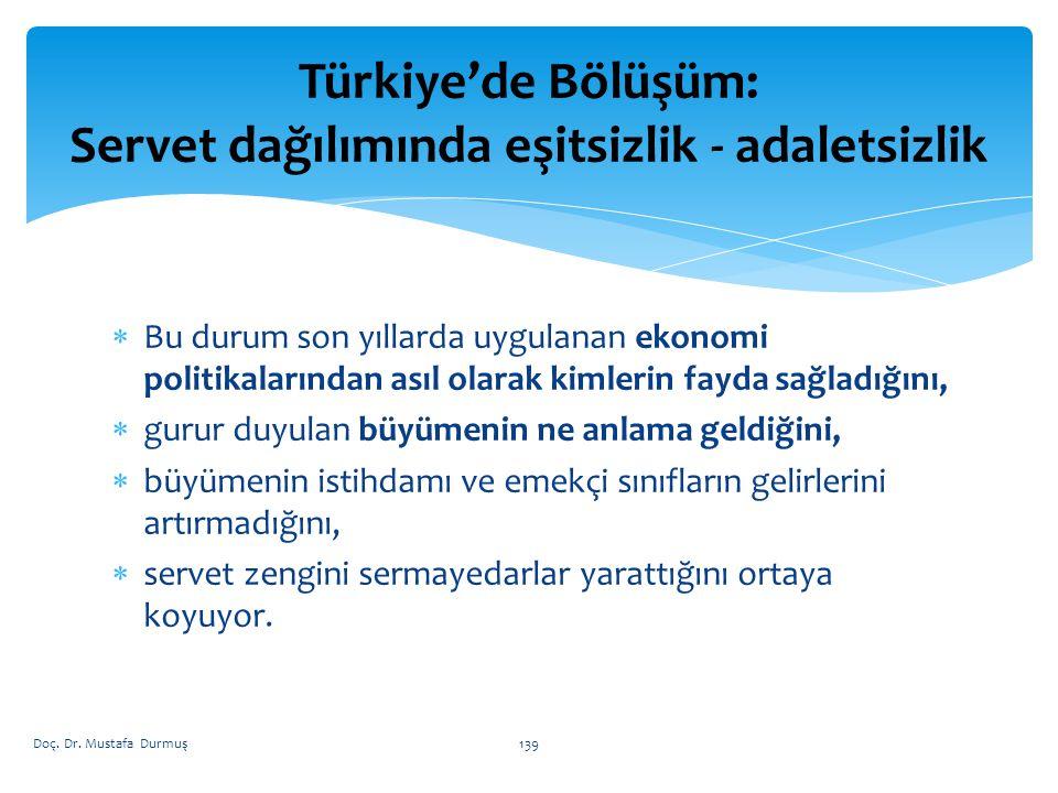 Türkiye'de Bölüşüm: Servet dağılımında eşitsizlik - adaletsizlik