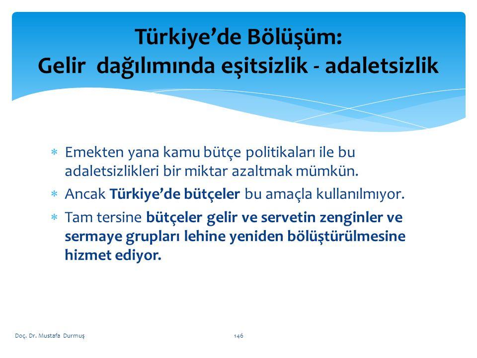 Türkiye'de Bölüşüm: Gelir dağılımında eşitsizlik - adaletsizlik