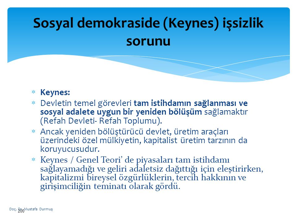 Sosyal demokraside (Keynes) işsizlik sorunu