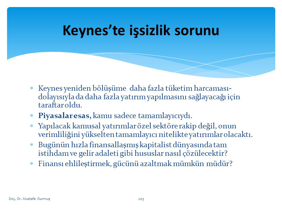 Keynes'te işsizlik sorunu
