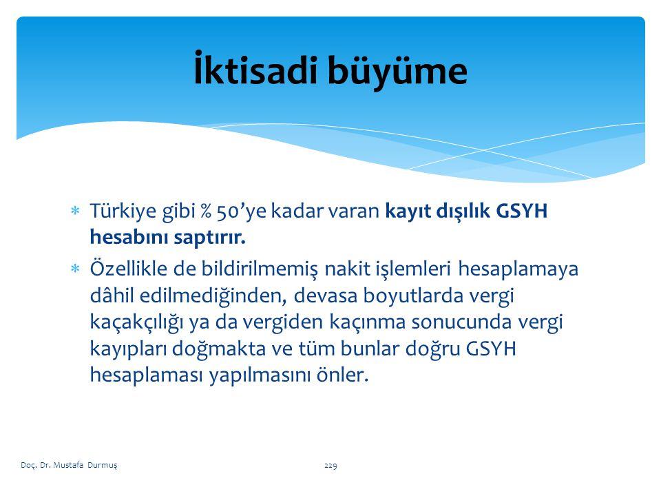 İktisadi büyüme Türkiye gibi % 50'ye kadar varan kayıt dışılık GSYH hesabını saptırır.