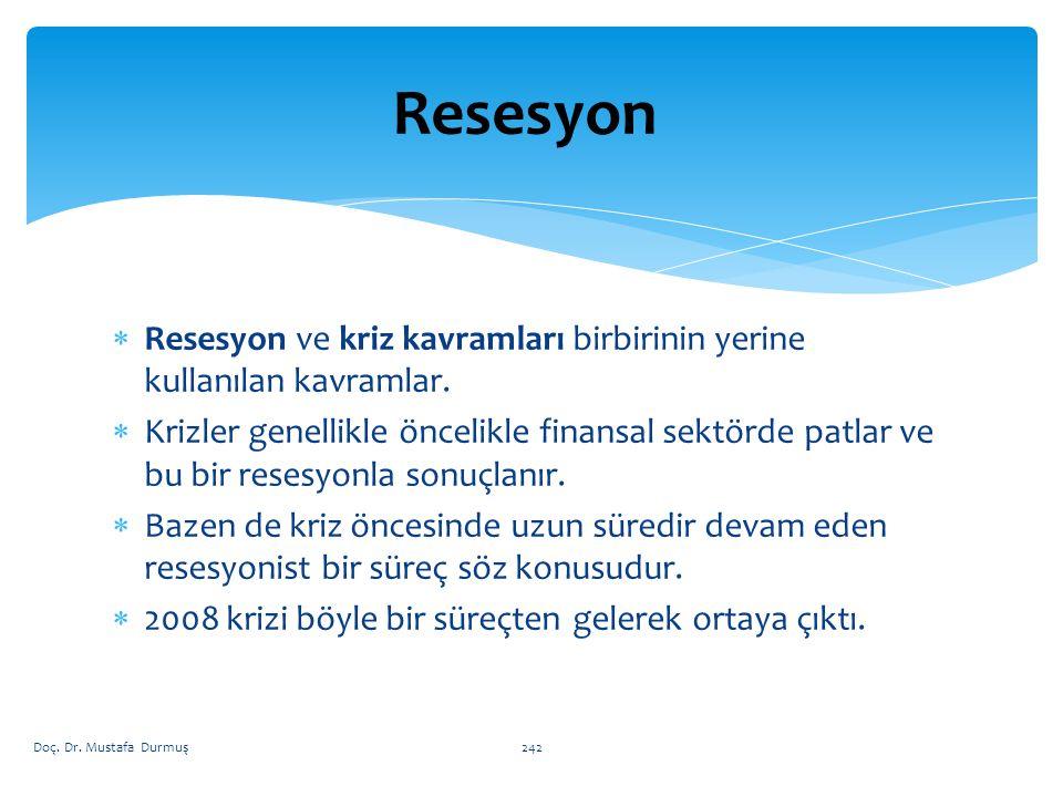Resesyon Resesyon ve kriz kavramları birbirinin yerine kullanılan kavramlar.