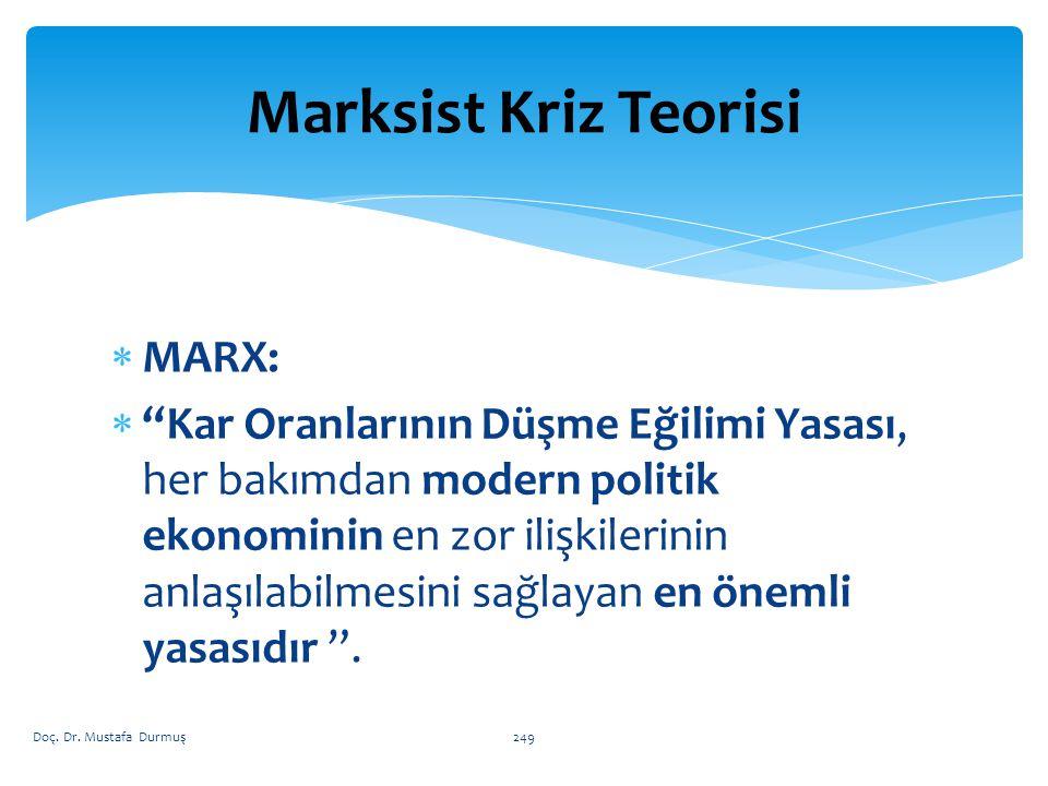 Marksist Kriz Teorisi MARX: