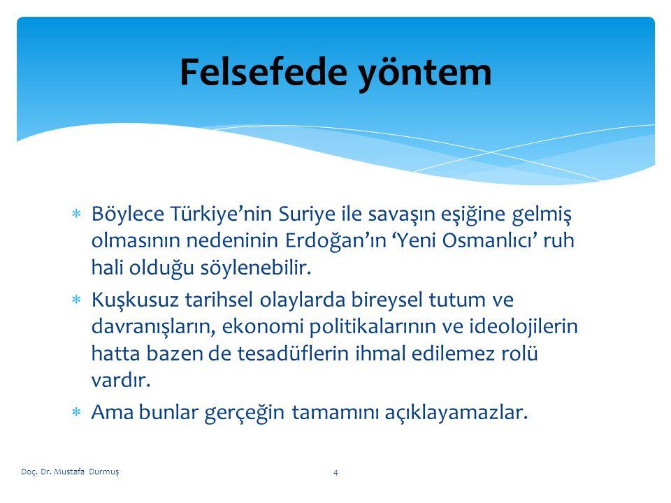 Felsefede yöntem Böylece Türkiye'nin Suriye ile savaşın eşiğine gelmiş olmasının nedeninin Erdoğan'ın 'Yeni Osmanlıcı' ruh hali olduğu söylenebilir.