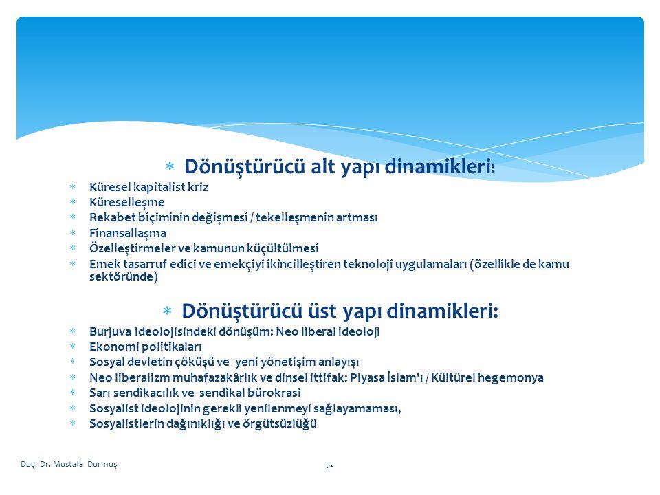 Dönüştürücü alt yapı dinamikleri: Dönüştürücü üst yapı dinamikleri: