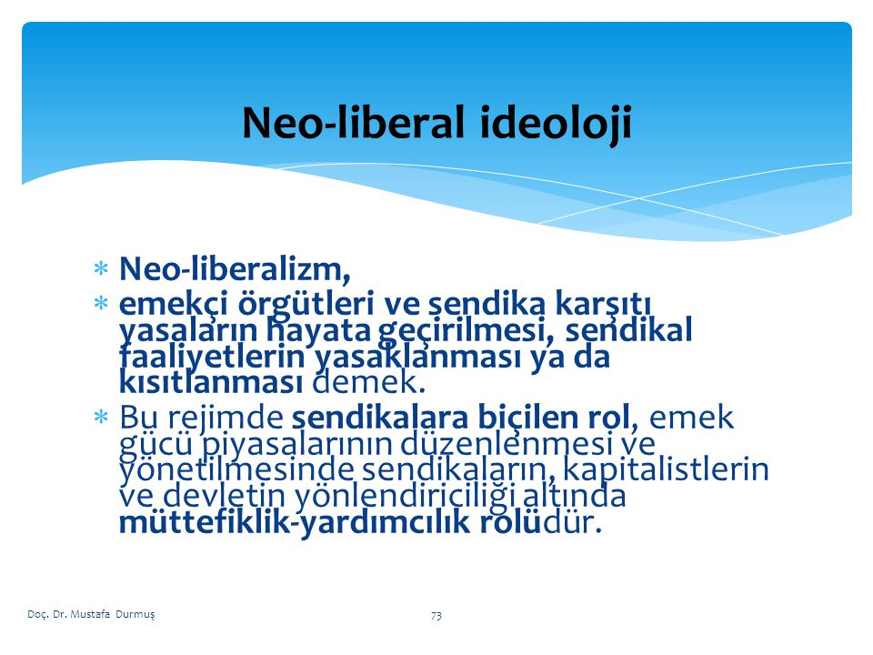 Neo-liberal ideoloji Neo-liberalizm,