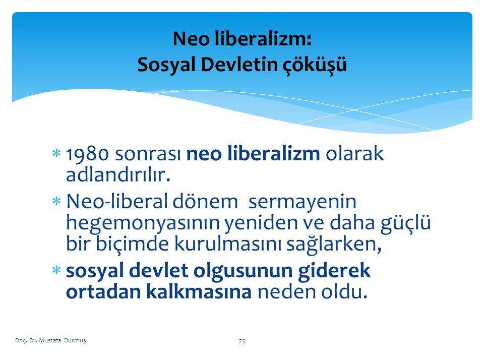 Neo liberalizm: Sosyal Devletin çöküşü