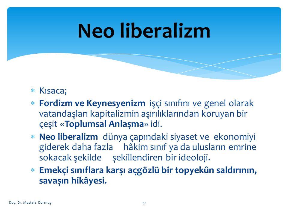 Neo liberalizm Kısaca;