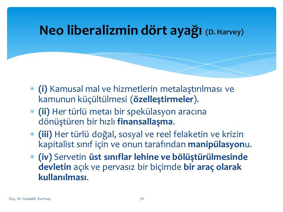 Neo liberalizmin dört ayağı (D. Harvey)