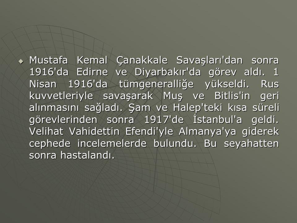 Mustafa Kemal Çanakkale Savaşları dan sonra 1916 da Edirne ve Diyarbakır da görev aldı.