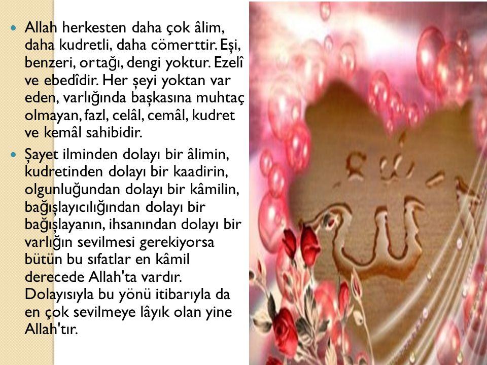 Allah herkesten daha çok âlim, daha kudretli, daha cömerttir