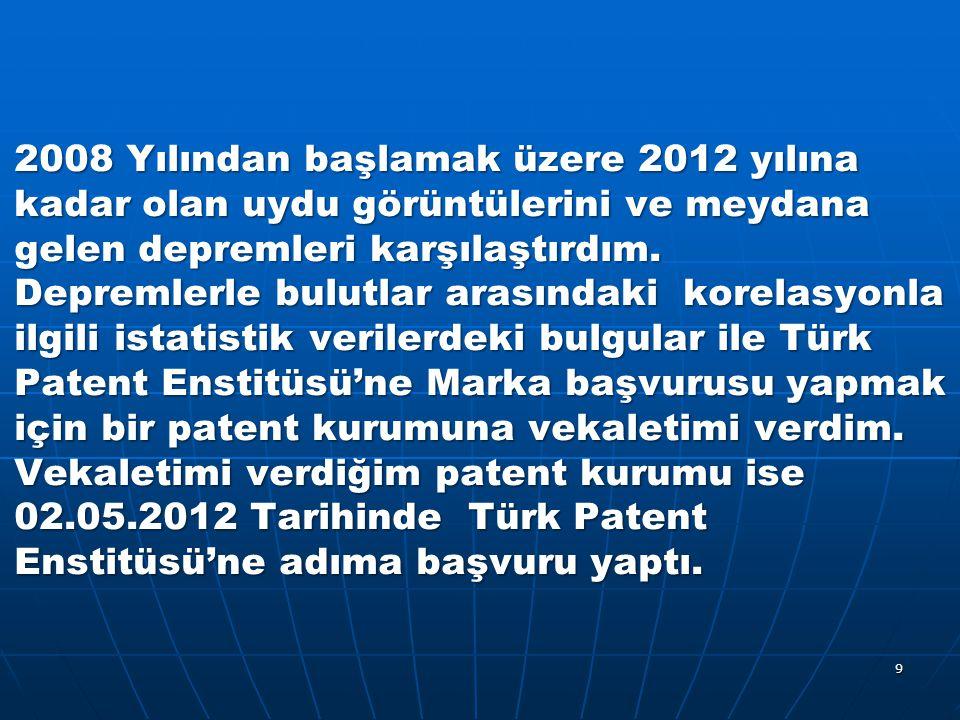2008 Yılından başlamak üzere 2012 yılına kadar olan uydu görüntülerini ve meydana gelen depremleri karşılaştırdım.