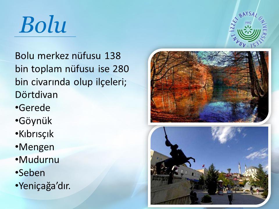 Bolu Bolu merkez nüfusu 138 bin toplam nüfusu ise 280 bin civarında olup ilçeleri; Dörtdivan. Gerede.