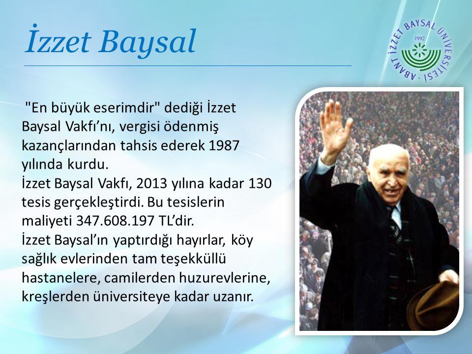 İzzet Baysal En büyük eserimdir dediği İzzet Baysal Vakfı'nı, vergisi ödenmiş kazançlarından tahsis ederek 1987 yılında kurdu.