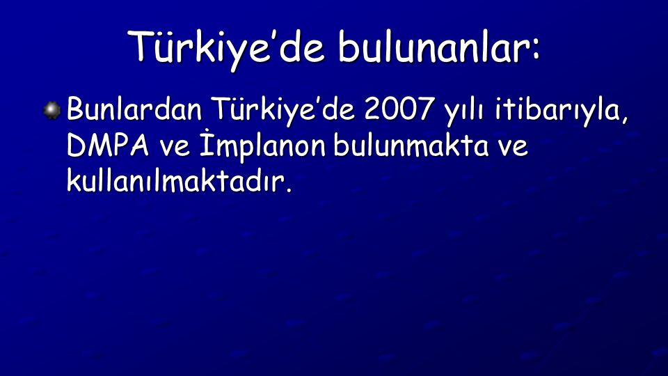 Türkiye'de bulunanlar: