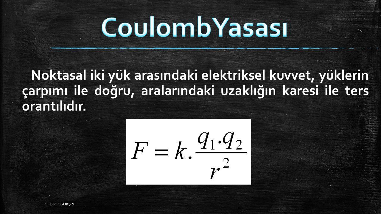 CoulombYasası Noktasal iki yük arasındaki elektriksel kuvvet, yüklerin çarpımı ile doğru, aralarındaki uzaklığın karesi ile ters orantılıdır.
