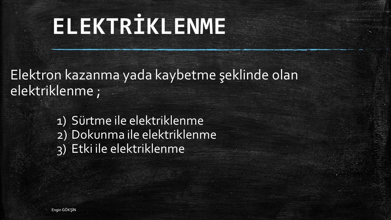ELEKTRİKLENME Elektron kazanma yada kaybetme şeklinde olan elektriklenme ; Sürtme ile elektriklenme.