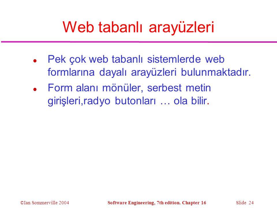 Web tabanlı arayüzleri