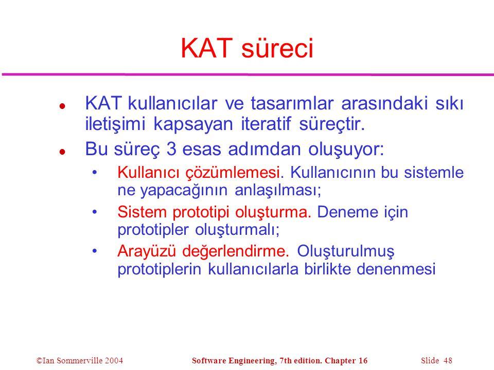 KAT süreci KAT kullanıcılar ve tasarımlar arasındaki sıkı iletişimi kapsayan iteratif süreçtir. Bu süreç 3 esas adımdan oluşuyor: