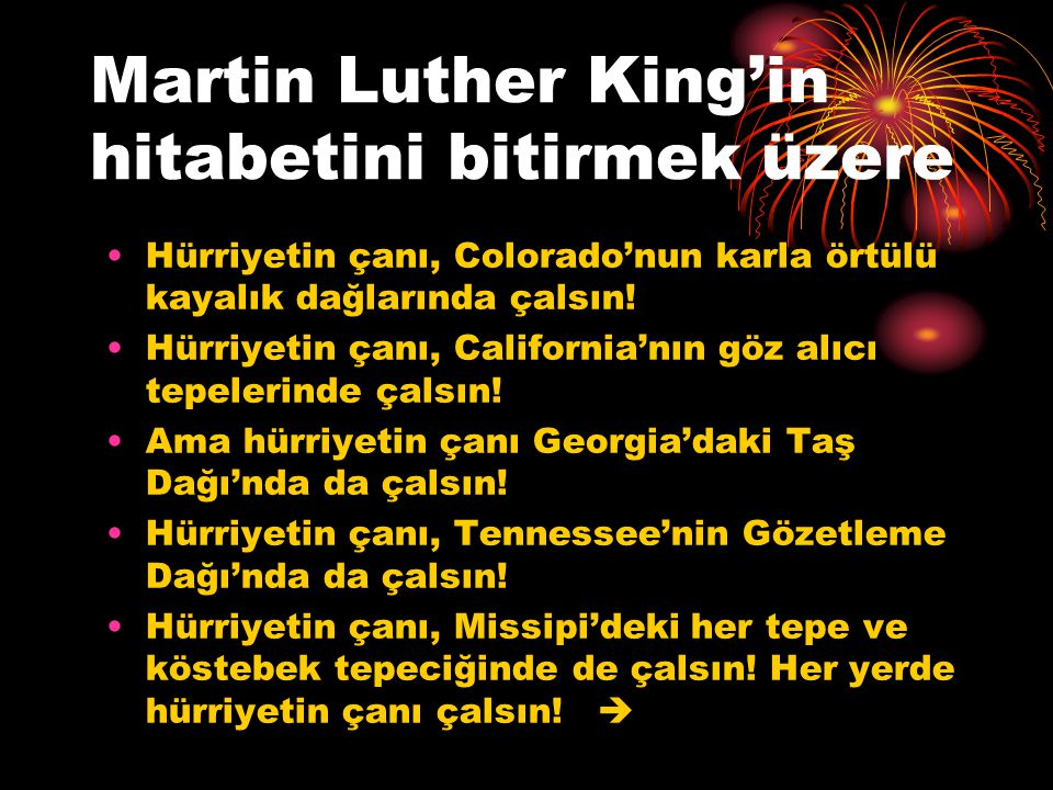 Martin Luther King'in hitabetini bitirmek üzere