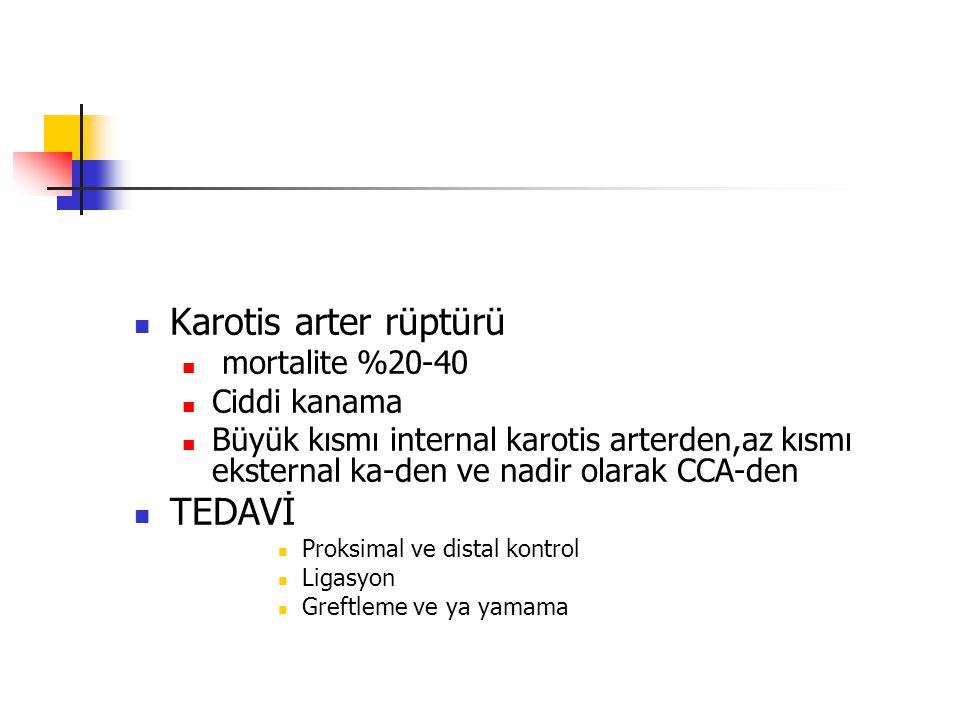 Karotis arter rüptürü TEDAVİ mortalite %20-40 Ciddi kanama