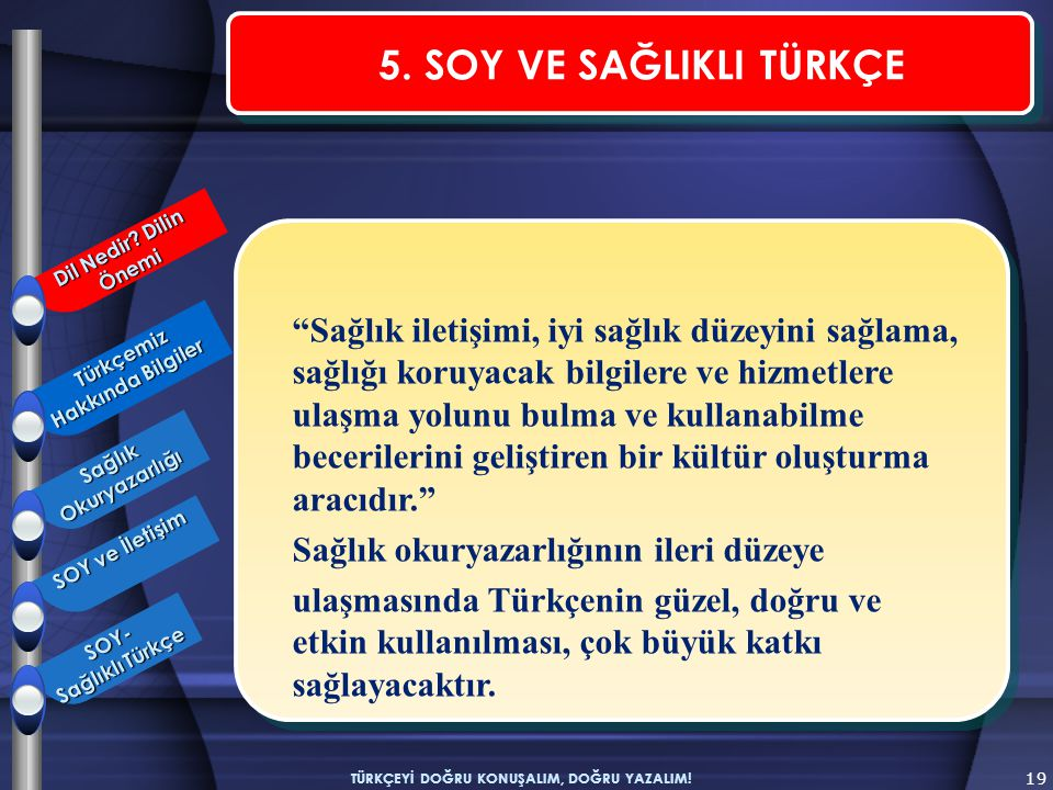 Türkçemiz Hakkında Bilgiler TÜRKÇEYİ DOĞRU KONUŞALIM, DOĞRU YAZALIM!