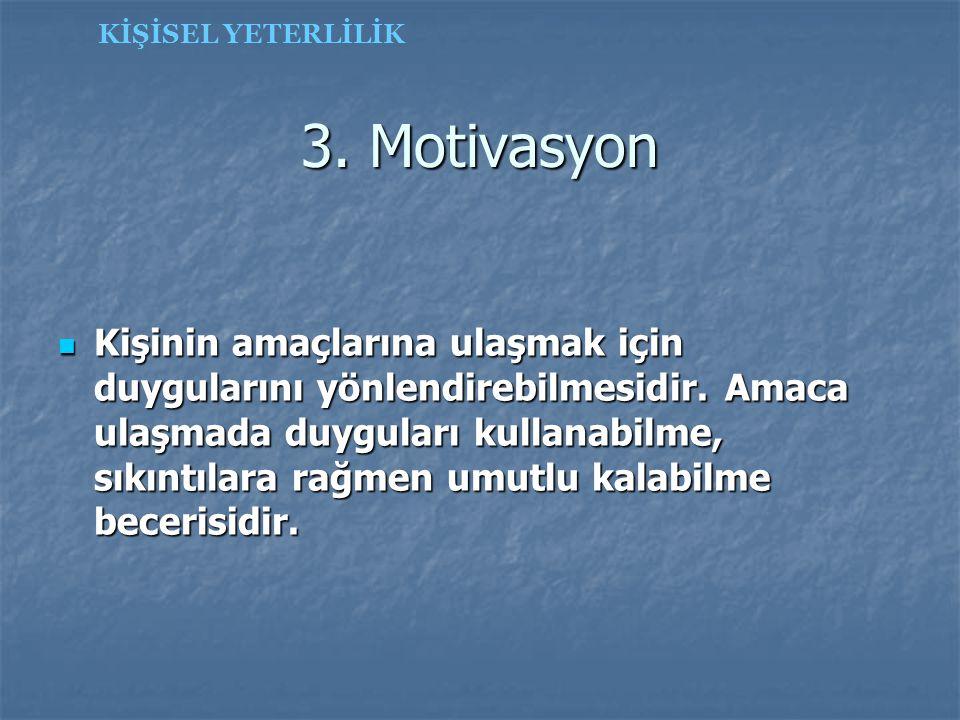 KİŞİSEL YETERLİLİK 3. Motivasyon.
