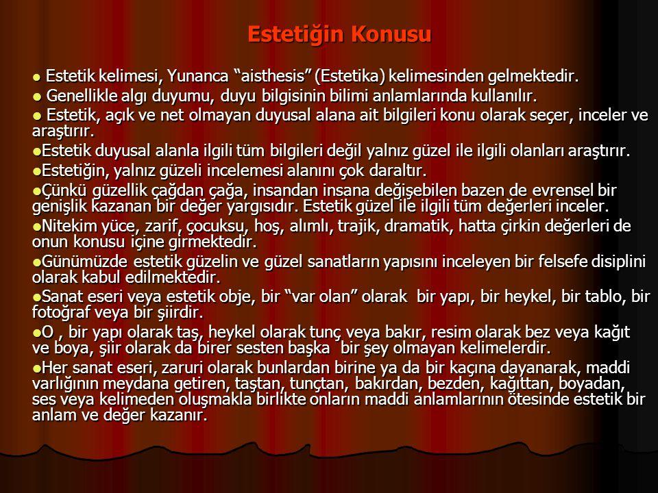 Estetiğin Konusu Estetik kelimesi, Yunanca aisthesis (Estetika) kelimesinden gelmektedir.