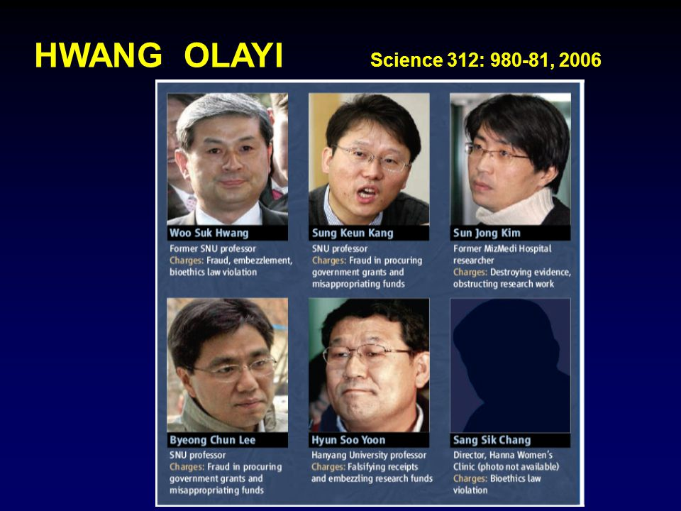 HWANG OLAYI Science 312: 980-81, 2006