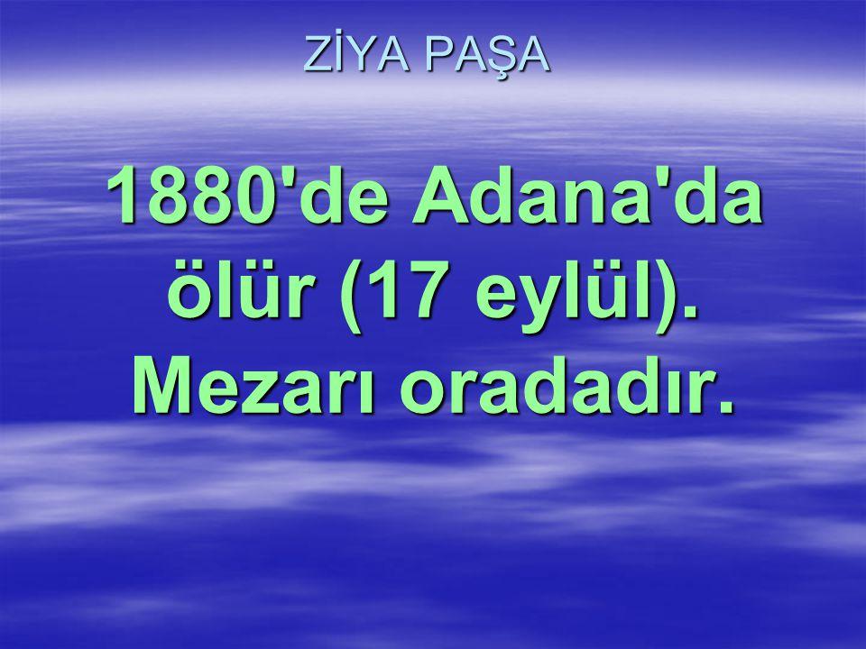 1880 de Adana da ölür (17 eylül). Mezarı oradadır.