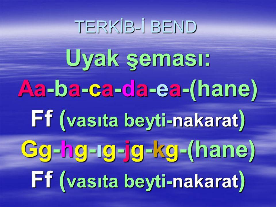 Aa-ba-ca-da-ea-(hane) Ff (vasıta beyti-nakarat) Gg-hg-ıg-jg-kg-(hane)