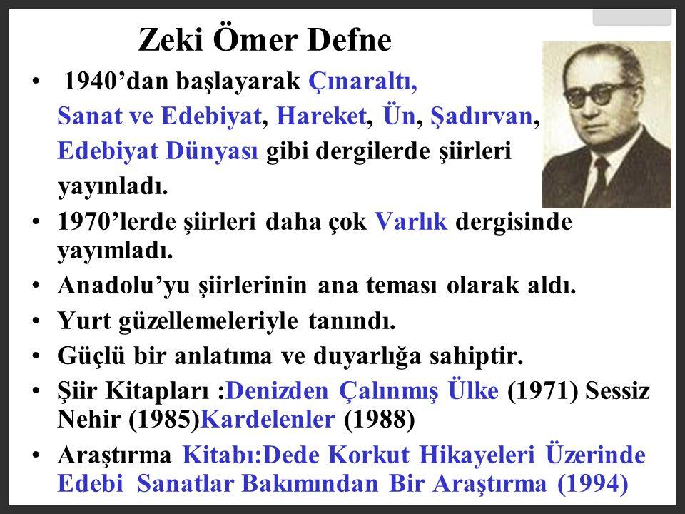 Zeki Ömer Defne 1940'dan başlayarak Çınaraltı,