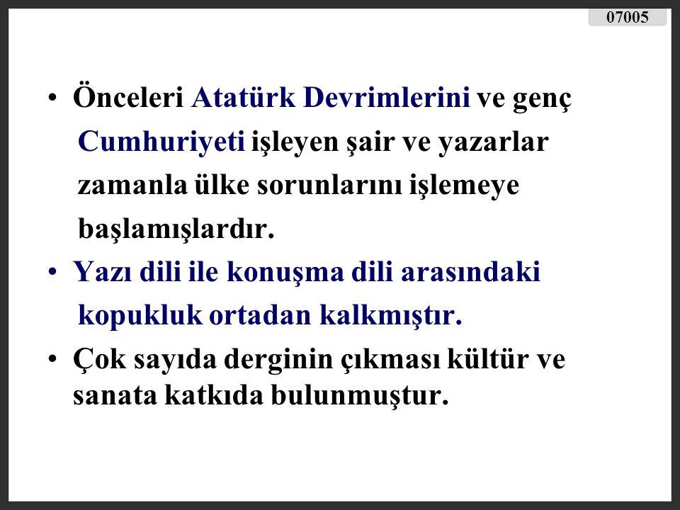 Önceleri Atatürk Devrimlerini ve genç