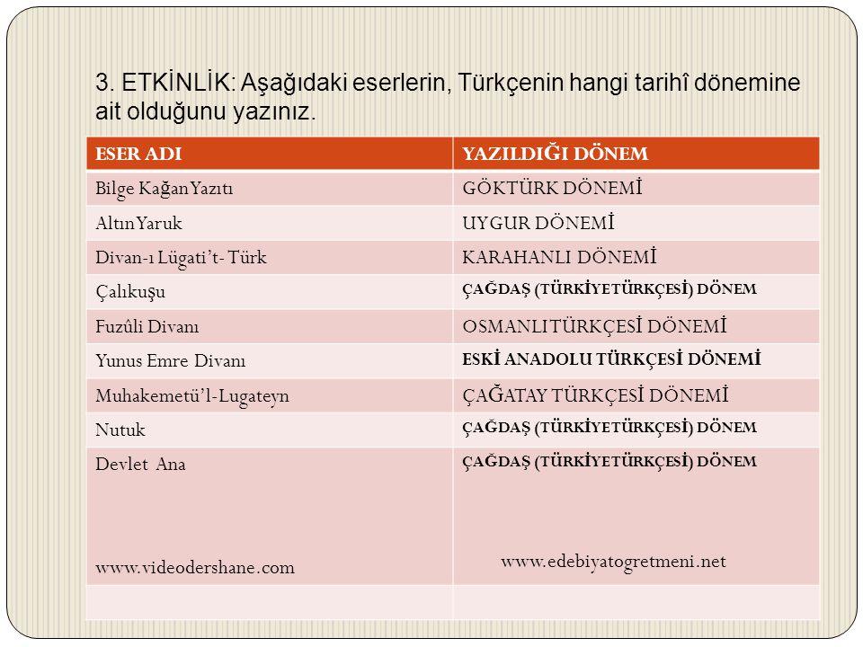 3. ETKİNLİK: Aşağıdaki eserlerin, Türkçenin hangi tarihî dönemine ait olduğunu yazınız.