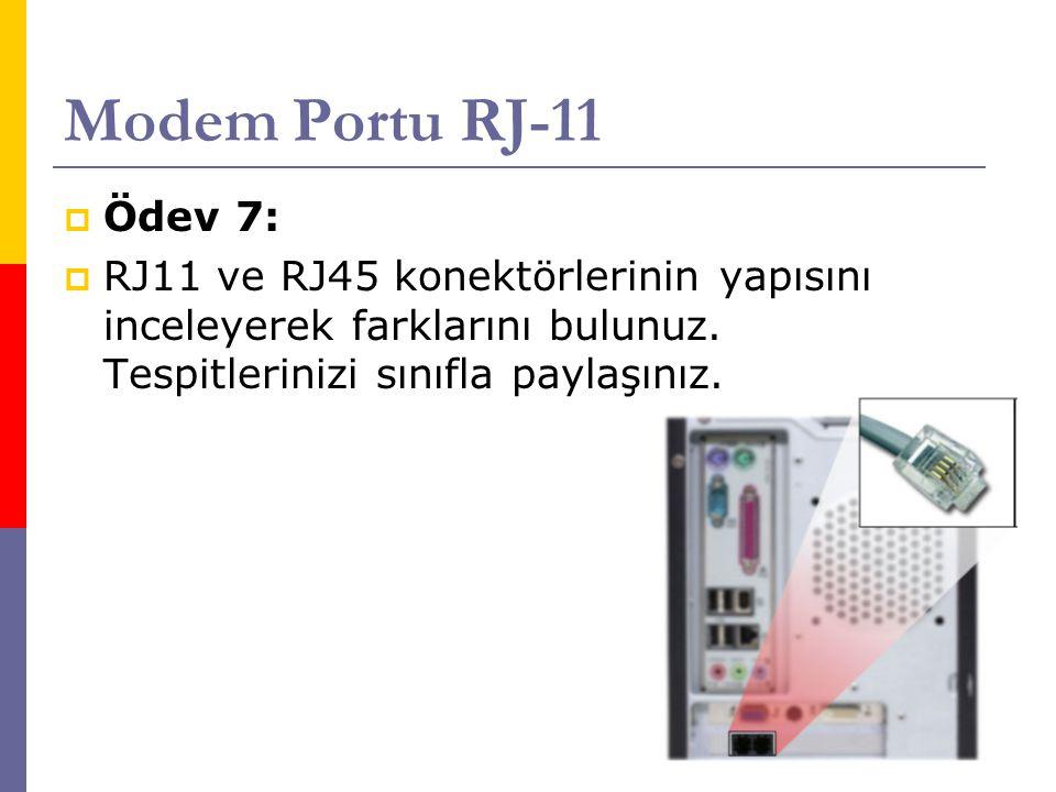 Modem Portu RJ-11 Ödev 7: RJ11 ve RJ45 konektörlerinin yapısını inceleyerek farklarını bulunuz.