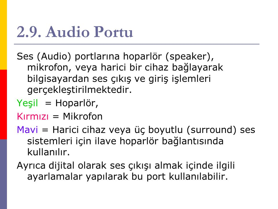 2.9. Audio Portu