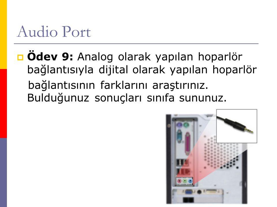 Audio Port Ödev 9: Analog olarak yapılan hoparlör bağlantısıyla dijital olarak yapılan hoparlör.