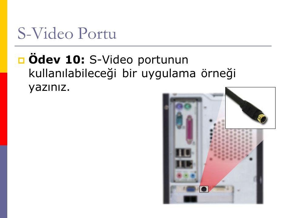 S-Video Portu Ödev 10: S-Video portunun kullanılabileceği bir uygulama örneği yazınız.