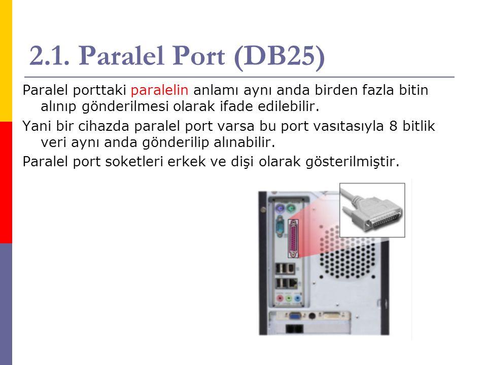 2.1. Paralel Port (DB25) Paralel porttaki paralelin anlamı aynı anda birden fazla bitin alınıp gönderilmesi olarak ifade edilebilir.