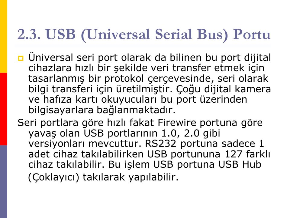 2.3. USB (Universal Serial Bus) Portu