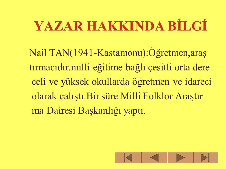 YAZAR HAKKINDA BİLGİ Nail TAN(1941-Kastamonu):Öğretmen,araş