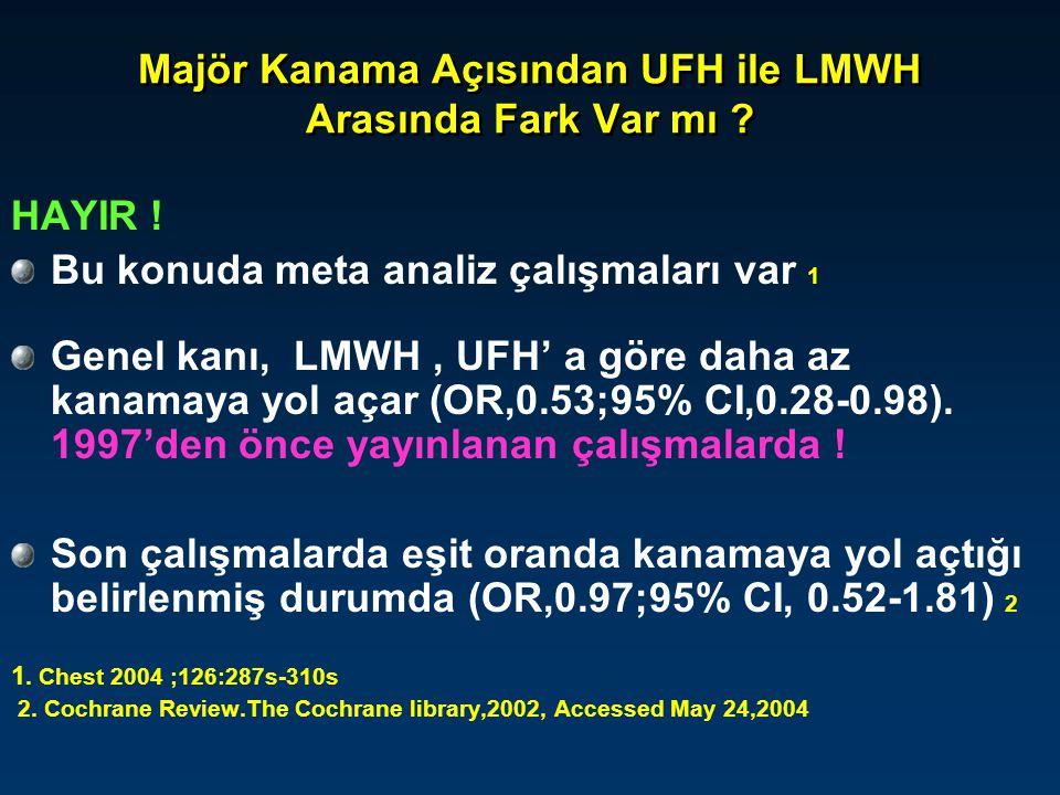 Majör Kanama Açısından UFH ile LMWH Arasında Fark Var mı