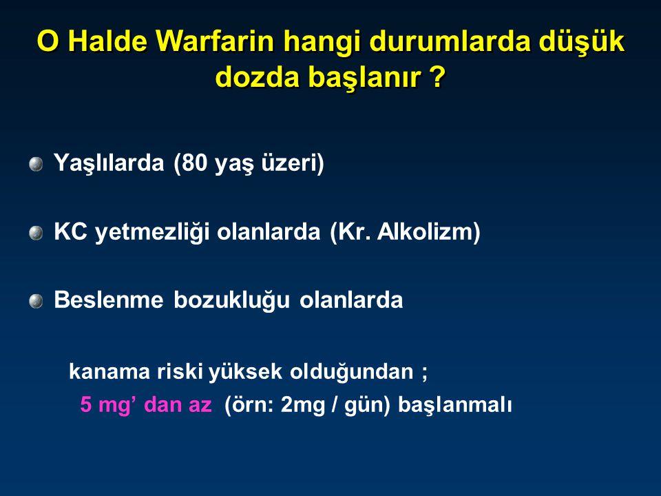 O Halde Warfarin hangi durumlarda düşük dozda başlanır