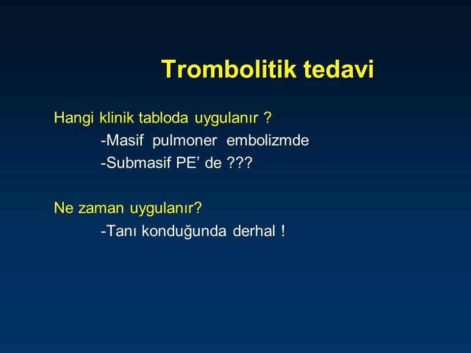 Trombolitik tedavi Hangi klinik tabloda uygulanır