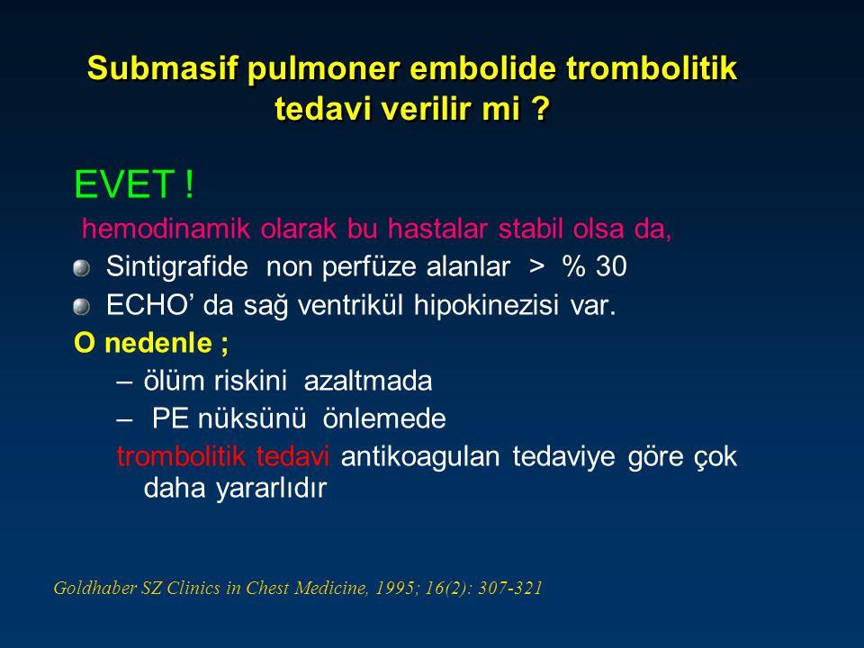 Submasif pulmoner embolide trombolitik tedavi verilir mi