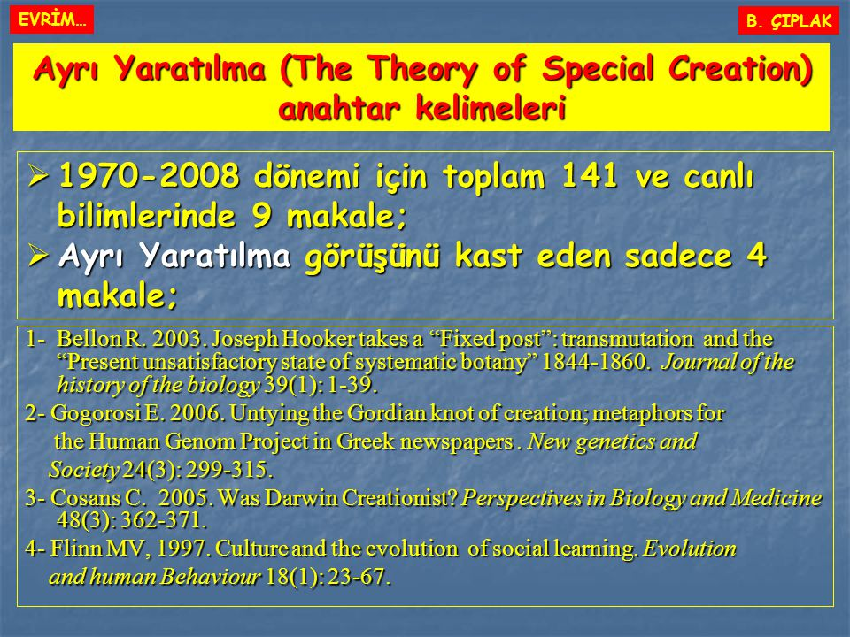 Ayrı Yaratılma (The Theory of Special Creation) anahtar kelimeleri