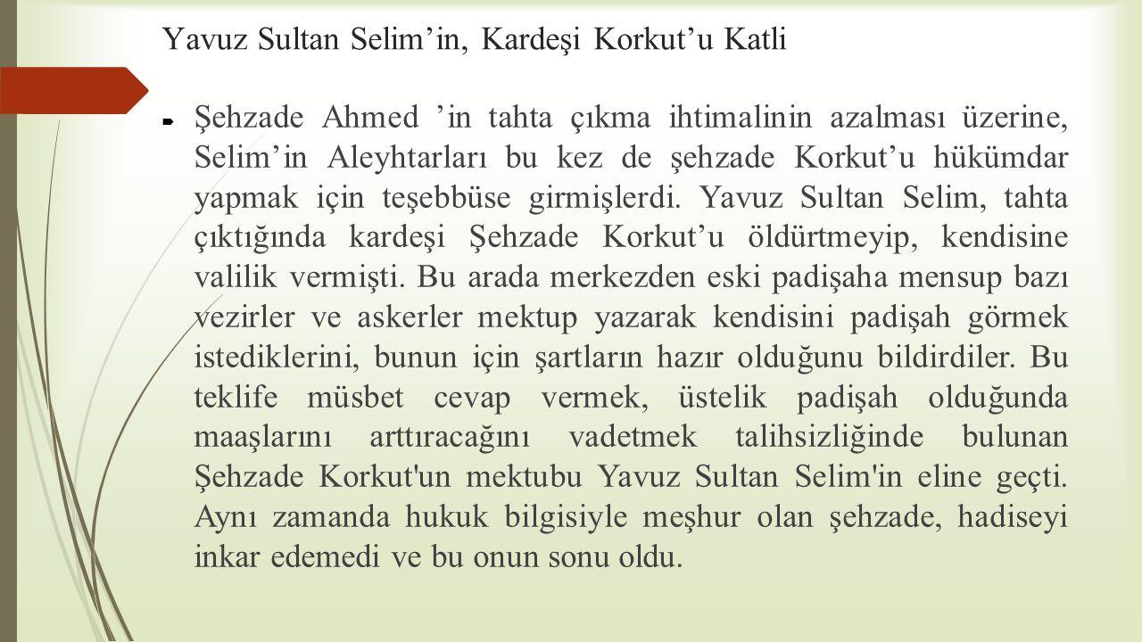 Yavuz Sultan Selim'in, Kardeşi Korkut'u Katli
