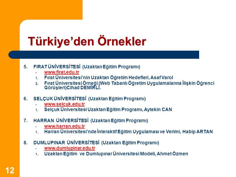 Türkiye'den Örnekler 5. FIRAT ÜNİVERSİTESİ (Uzaktan Eğitim Programı)