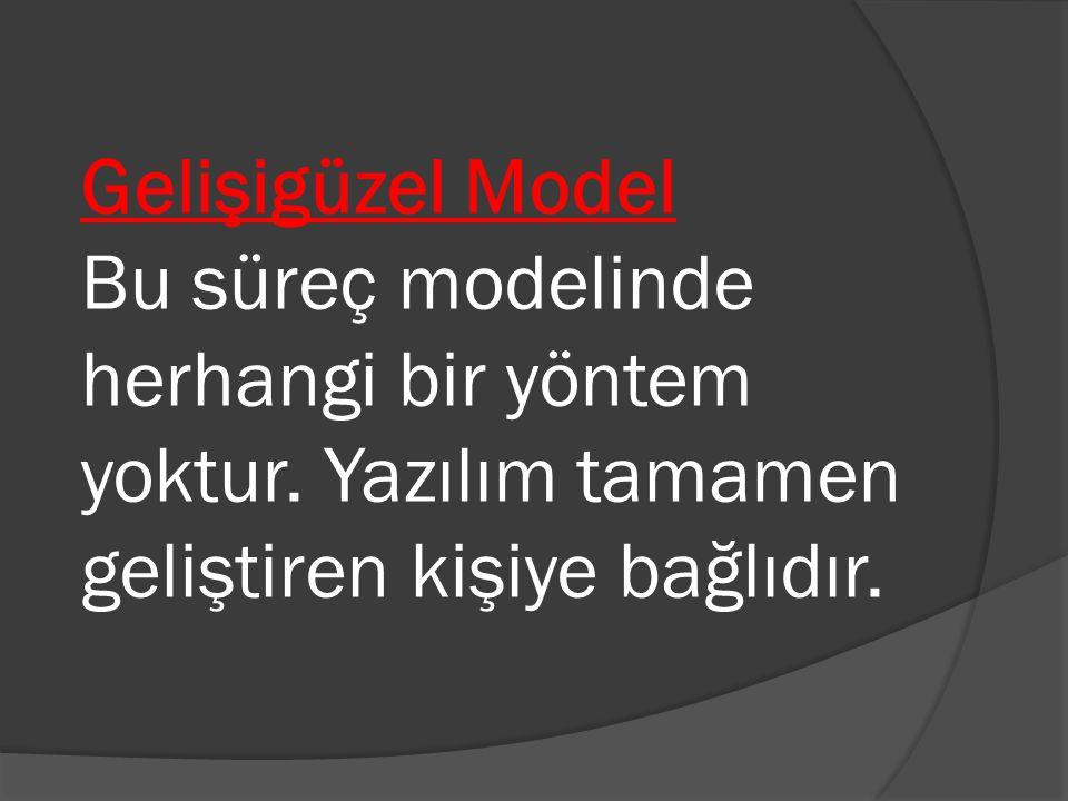 Gelişigüzel Model Bu süreç modelinde herhangi bir yöntem yoktur